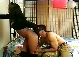 Sexy gal gets her ass licked by a mysterious man in a black mask