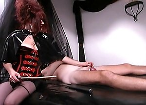 Male slave taking cock and nipple punishment from Mistress Aradia