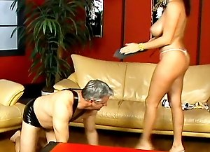 Mistress Cleevage is a spider who has entangled some naughty flies in her web