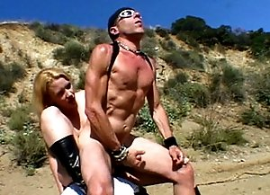 Muscular dude gets his tight butt nailed by dominating babe.