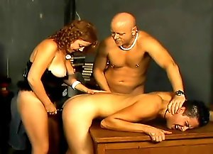 Chubby redhead strapon fucking bi guy's ass while he sucks a dick then she gets pussy drilled