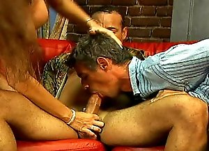 Two bisexual dudes fuck each other, drill babe's pussy and get anal fuck when she straps on