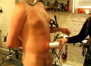 Slave getting abused with a candle