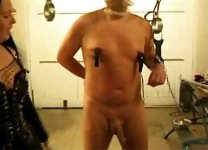 Slave getting his penis tortured by mistress