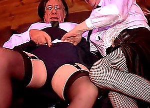 The sissy's bell-rope is out and a white-dressed nicie is blowing that long vibrating cucumber and hugging each other, both are going off rocks!