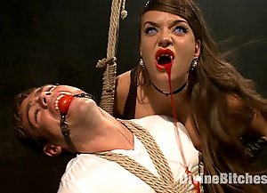 Three femdom vampires seek out an innocent piece of man meat punish him then ruin his multiple orgasms and milk him raw for all his sperm!