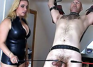 Two beautiful dominant ladies tie up hands and legs of one hugecocked baldheaded enslaved fellow and begin giving him unforgettable painful balls and