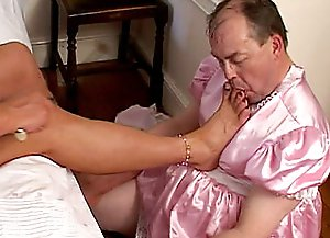 Being dressed as an innocent princess, a tranny is blowing other sissy's Long Dong and has his penis in the asshole